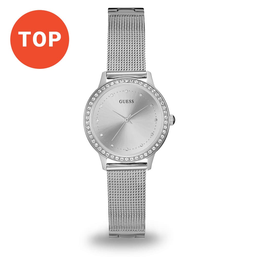 Strieborné hodinky Guess Chelsea