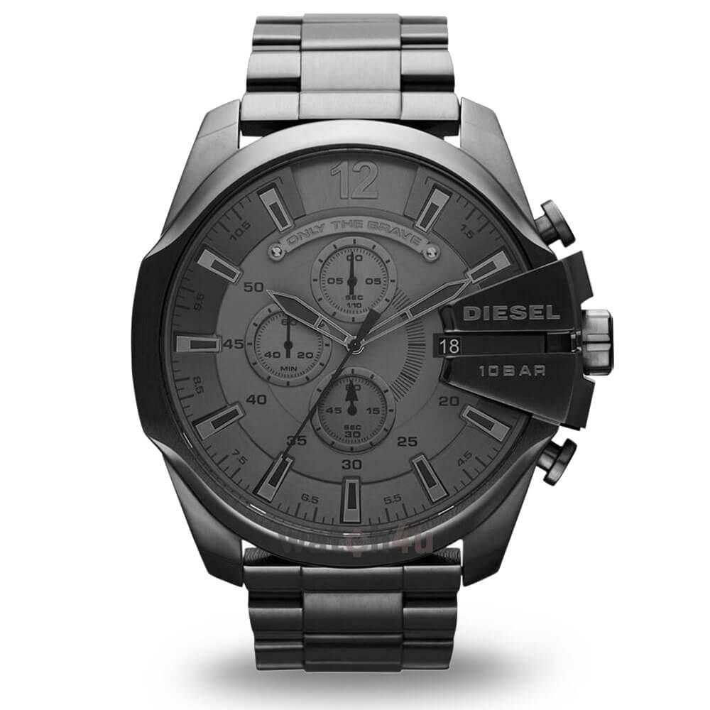 Duży czarny zegarek Diesel