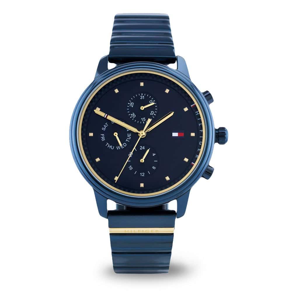 Modré hodinky Tommy Hilfiger so zlatými prvkami