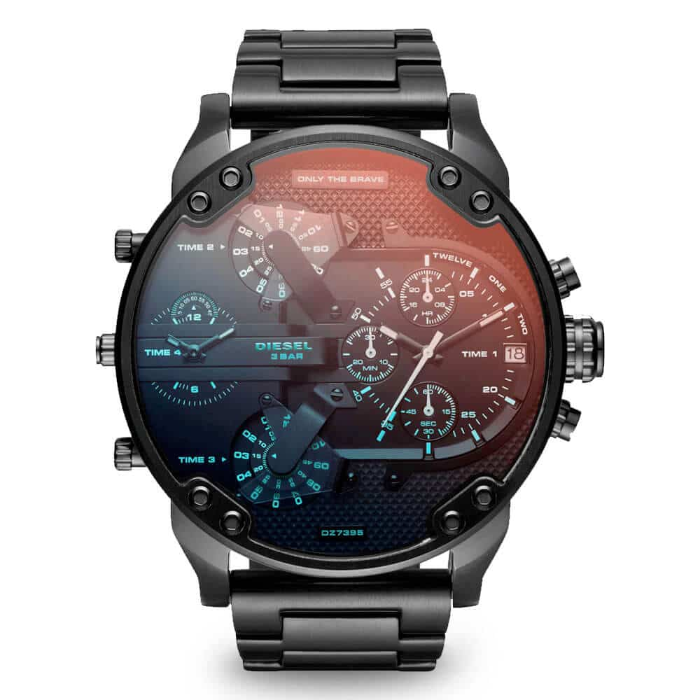 Neprehliadnuteľné čierne hodinky Diesel