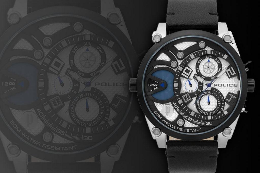 Ekstrawagancki duży męski zegarek Police