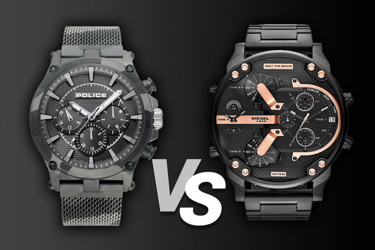 Duże męskie zegarki Police i Diesel