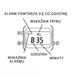 Tryb alarmu w zegarku Casio Vintage