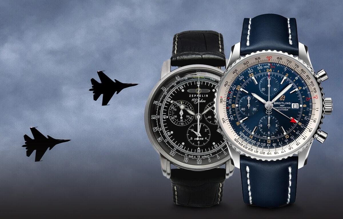 Wybraliśmy najbardziej znane marki zegarków lotniczych - marki Longines, Breitling, Zeppelin, Vostok Europe