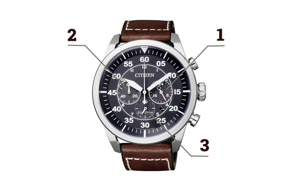 Chronograf na zegarku Citizen
