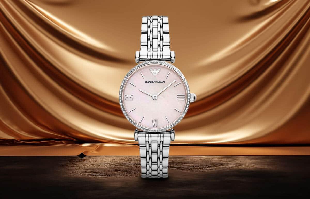 Srebrny zegarek damski Emporio Armani