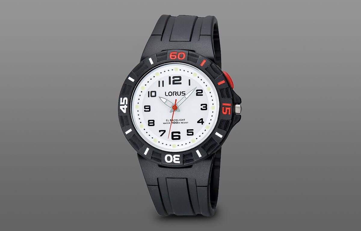 Prosty chłopięcy zegarek Lorus z gumowym paskiem