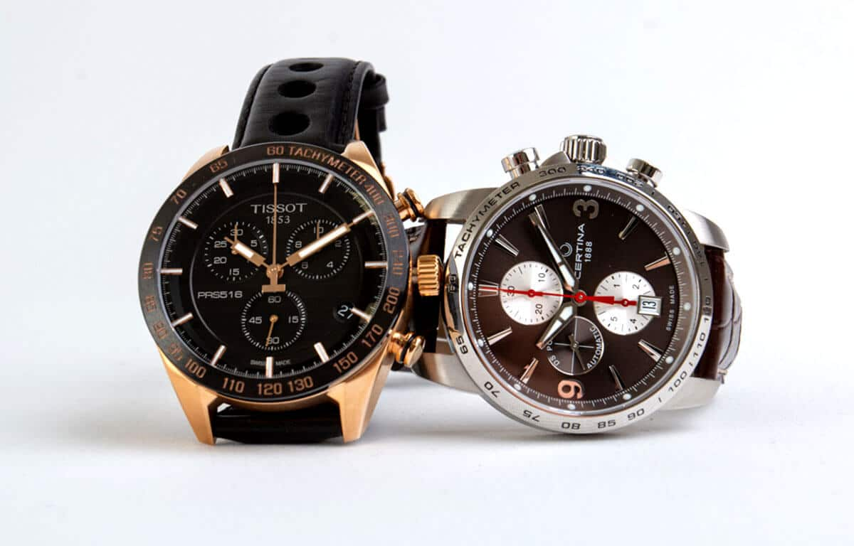 Chronograficzne tarcze w zegarkach Tissot i Certina