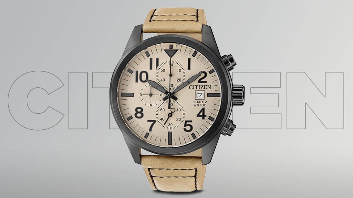 Tanie zegarki męskie Citizen z brązowym paskiem