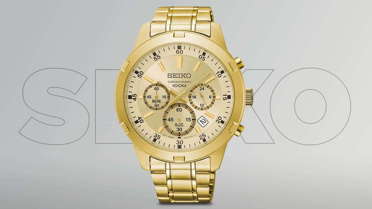 Złote zegarki męskie Seiko z chronografami